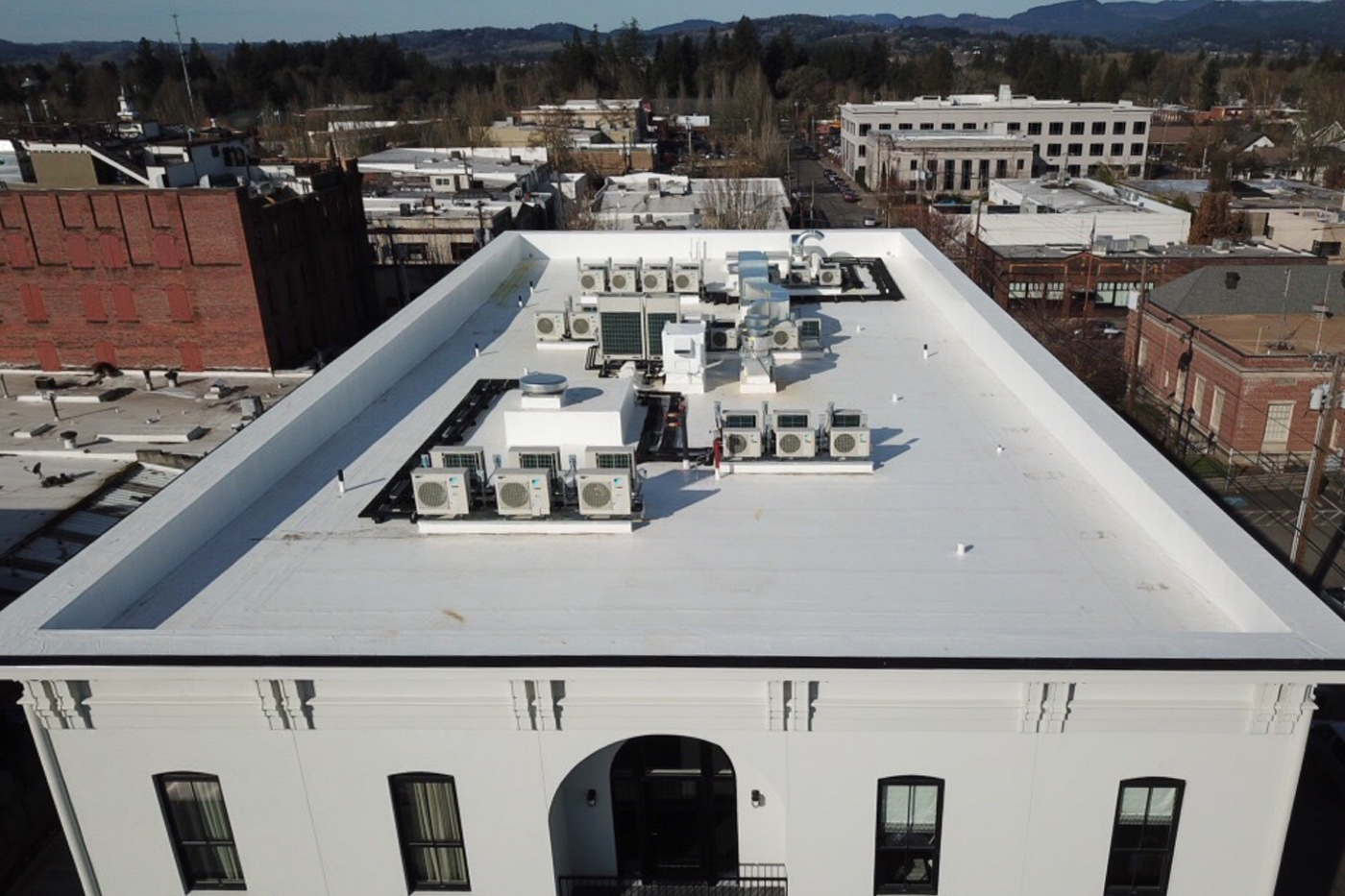 Atticus Hotel Exterior Roof Flyby HVAC System